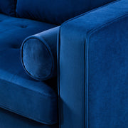 Como Navy Velvet Sectional LAF