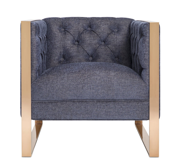 Farah Navy Chair from the Farah Collection  made from Wood, Stainless Steel, Linen in Navy featuring Handmade by skilled furniture craftsmen and Stainless steel rose gold legs and frame