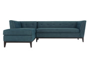 Jess Azure Textured Linen LAF Sectional from the Jess Collection  made from Wood, Linen in Blue featuring Fabulous Mid-Century design  and Removeable seat cushions