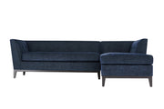 Jess Navy Textured Linen RAF Sectional from the Jess Collection  made from Wood, Linen in Navy featuring Fabulous Mid-Century design  and Removeable seat cushions