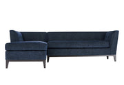 Jess Navy Textured Linen LAF Sectional from the Jess Collection  made from Wood, Linen in Navy featuring Fabulous Mid-Century design  and Removeable seat cushions