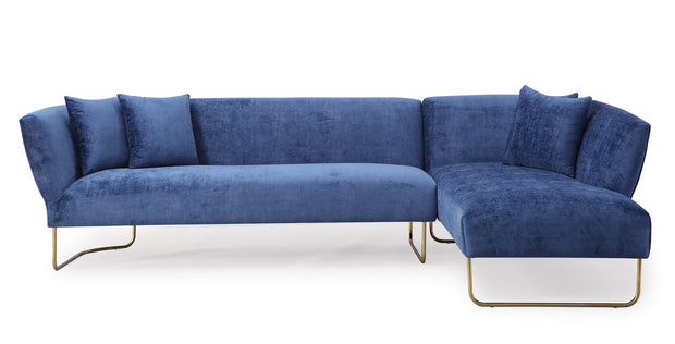 Caprice Navy Velvet RAF Sectional from the Caprice Collection  made from Velvet, Stainless Steel, Pine in Navy featuring Handmade by skilled furniture craftsmen and Elegantly curved silhouette with gold stainless steel legs