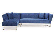 Caprice Navy Velvet LAF Sectional from the Caprice Collection  made from Velvet, Stainless Steel, Pine in Navy featuring Handmade by skilled furniture craftsmen and Elegantly curved silhouette with gold stainless steel legs