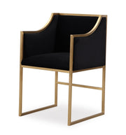 Atara Black Velvet Gold Chair from the Atara Collection  made from Velvet, Stainless Steel, Pine in Black, Gold featuring Gold stainless steel frame and Soft and sumptuous velvet upholstery