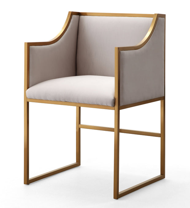 Atara Cream Velvet Gold Chair from the Atara Collection  made from Velvet, Stainless Steel, Pine in Cream, Gold featuring Gold stainless steel frame and Soft and sumptuous velvet upholstery