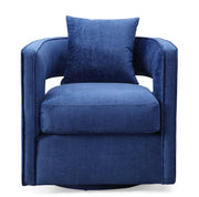 Kennedy Navy Swivel Chair from the Kennedy Collection  made from Velvet, Stainless Steel, Pine in Navy featuring Handmade by skilled furniture craftsmen and Swivel chair with stainless steel base