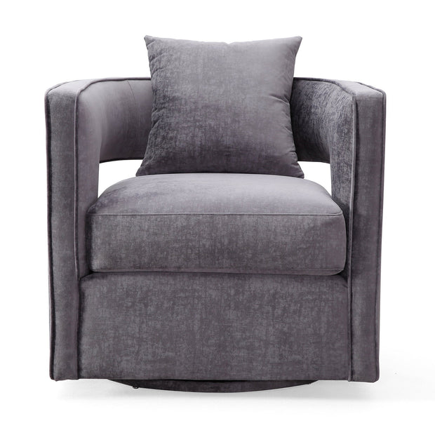 Kennedy Grey Swivel Chair from the Kennedy Collection  made from Velvet, Stainless Steel, Pine in Grey featuring Handmade by skilled furniture craftsmen and Swivel chair with stainless steel base
