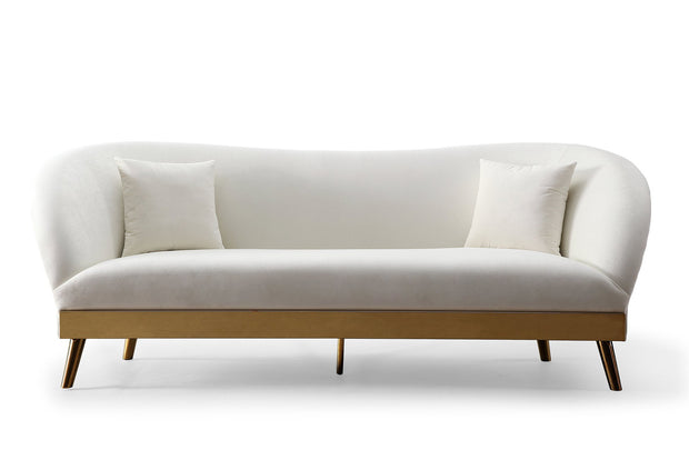 Chloe Cream Velvet Sofa from the Chloe Collection  made from Velvet, Stainless Steel, Pine in Cream featuring Handmade by skilled furniture craftsmen and Includes matching pillows