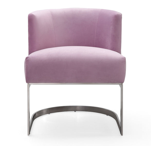 Eva Blush Velvet Chair from the Eva Collection  made from Velvet, Stainless Steel, Pine in Blush featuring Handmade by skilled furniture craftsmen and Soft and sumptuous velvet upholstery