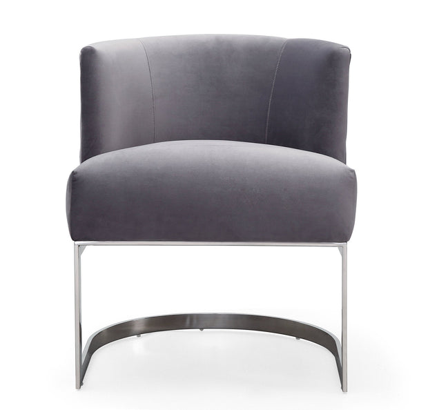 Eva Grey Velvet Chair from the Eva Collection  made from Velvet, Stainless Steel, Pine in Grey featuring Handmade by skilled furniture craftsmen and Soft and sumptuous velvet upholstery