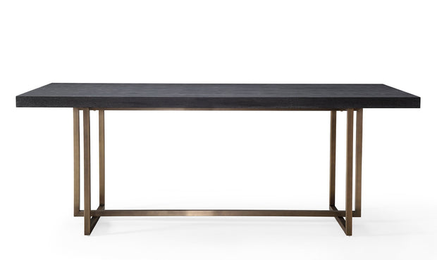Mason Black Dining Table from the Mason Collection  made from Wood, Stainless Steel, MDF Veneer in Black, Brushed Gold featuring Handmade by skilled furniture craftsmen and Brushed gold stainless steel base and hardware