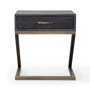 Mason Black Side Table from the Mason Collection  made from Wood, Stainless Steel, MDF Veneer in Black, Brushed Gold featuring Handmade by skilled furniture craftsmen and Brushed gold stainless steel base and hardware