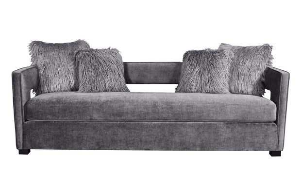 Kennedy Grey Velvet Sofa from the Kennedy Collection  made from Velvet, Stainless Steel, Pine in Navy featuring Handmade by skilled furniture craftsmen and Includes 4 grey faux sheepskin pillows