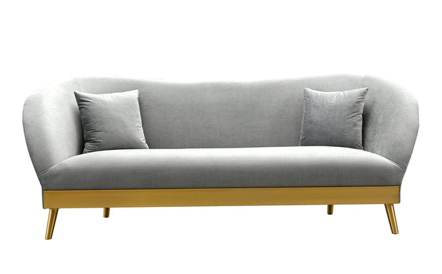Chloe Grey Velvet Sofa from the Chloe Collection  made from Velvet, Stainless Steel, Pine in Grey featuring Handmade by skilled furniture craftsmen and Includes matching pillows