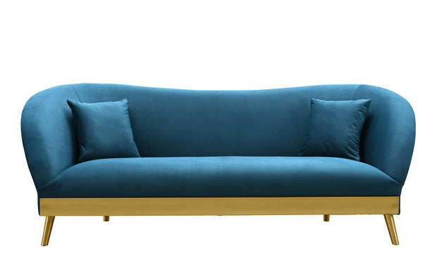 Chloe Spotted Blue Velvet Sofa from the Chloe Collection  made from Velvet, Stainless Steel, Pine in Blue featuring Handmade by skilled furniture craftsmen and Includes matching pillows