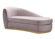 Adele Blush Velvet Chaise from the Adele Collection  made from Stainless Steel, Velvet in Blush featuring Handmade by skilled furniture craftsmen and Handmade by skilled furniture craftsmen