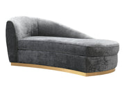 Adele Slub Grey Velvet Chaise from the Adele Collection  made from Stainless Steel, Velvet in Grey featuring Handmade by skilled furniture craftsmen and Elegantly curved silhouette