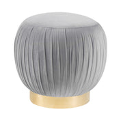 Tulip Grey Velvet Ottoman from the Tulip Collection  made from Velvet, Stainless Steel in Grey, Gold featuring Velvet top with a solid wood frame and metal base and Can be used as a stool or ottoman