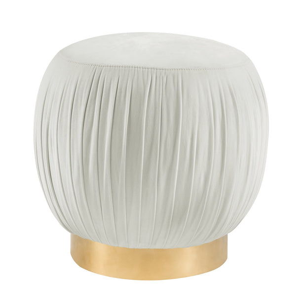 Tulip Cream Velvet Ottoman from the Tulip Collection  made from Velvet, Stainless Steel in Cream, Gold featuring Velvet top with a solid wood frame and metal base and Can be used as a stool or ottoman