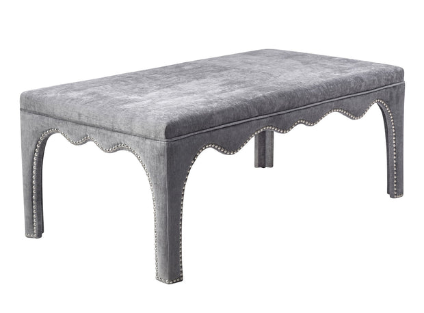 Ditmas Grey Bench/Table from the Ditmas Collection  made from Velvet, Wood in Grey featuring  and