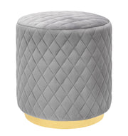 Abir Grey Velvet Ottoman from the Abir Collection  made from Velvet, Stainless Steel in Grey featuring Velvet diamond pattern and Gold stainless steel base
