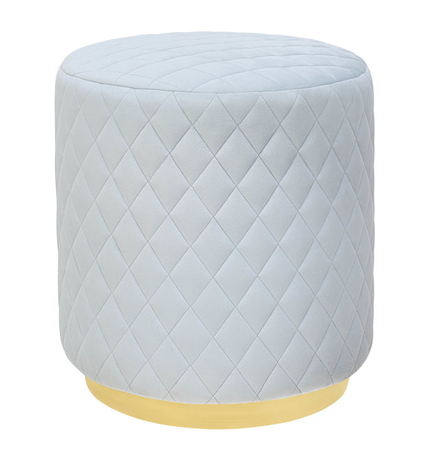 Abir Light Blue Velvet Ottoman from the Abir Collection  made from Velvet, Stainless Steel in Blue featuring Velvet diamond pattern and Gold stainless steel base