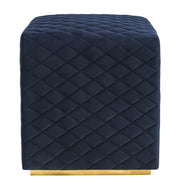 Kent Navy Velvet Ottoman from the Kent Collection  made from Velvet, Stainless Steel in Navy featuring  and