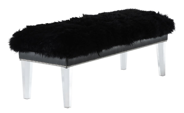 Luxe Black Sheepskin Lucite Bench from the Luxe Collection  made from Sheepskin in Black featuring Real sheepskin top and High quality clear Lucite legs
