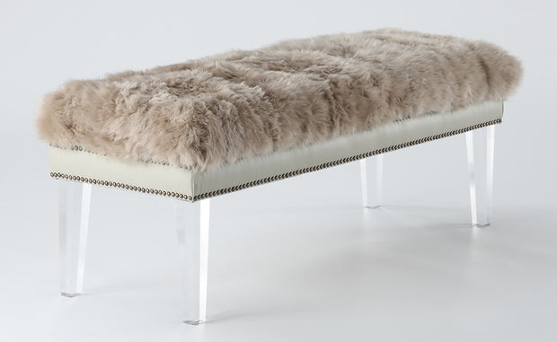 Luxe Brown Sheepskin Lucite Bench from the Luxe Collection  made from Sheepskin in Brown featuring Real sheepskin top and High quality clear Lucite legs