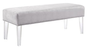 Stella Silver Croc Velvet Acrylic Bench from the Stella Collection  made from Velvet/Acrylic in Grey featuring Handmade by skilled furniture craftsmen and High quality Acrylic legs