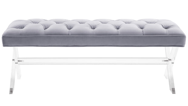 Claira Grey Lucite Bench from the Claira Collection  made from Acrylic, Velvet in Grey featuring Handmade by skilled furniture craftsmen and High quality X-shaped Acrylic legs and supporting bar