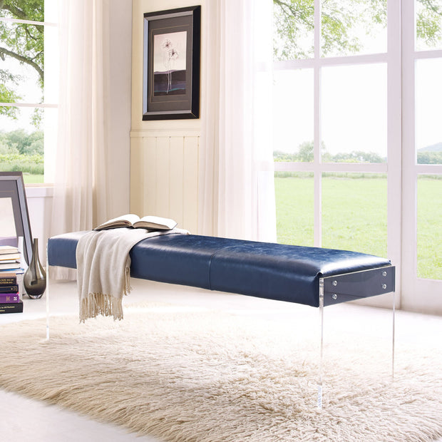 Envy Antique Blue Leather/Acrylic Bench