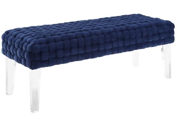 Sal Woven Navy Velvet Bench from the Sal Collection  made from Acrylic, Velvet in Navy featuring Handmade by skilled furniture craftsmen and High quality Acrylic legs