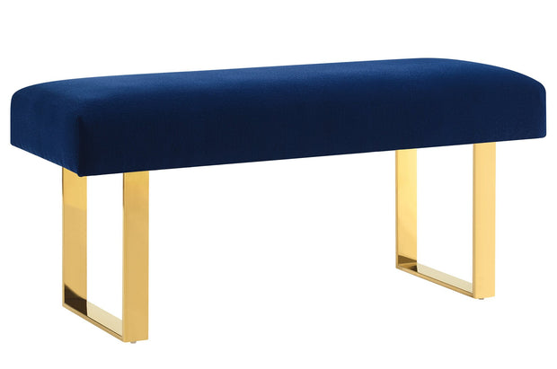 Alexis Velvet Bench made from Velvet, Stainless Steel in Navy featuring Gold stainless steel legs and Handmade by skilled furniture craftsman