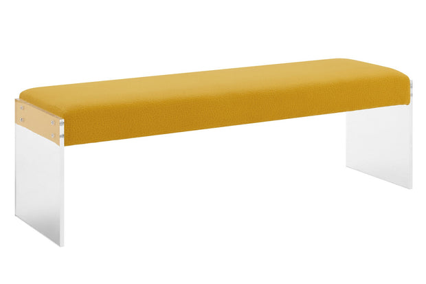 Sunshine Pebbled Velvet Bench made from Acrylic, Velvet in Yellow featuring Handmade by skilled furniture craftsmen and High quality Acrylic legs