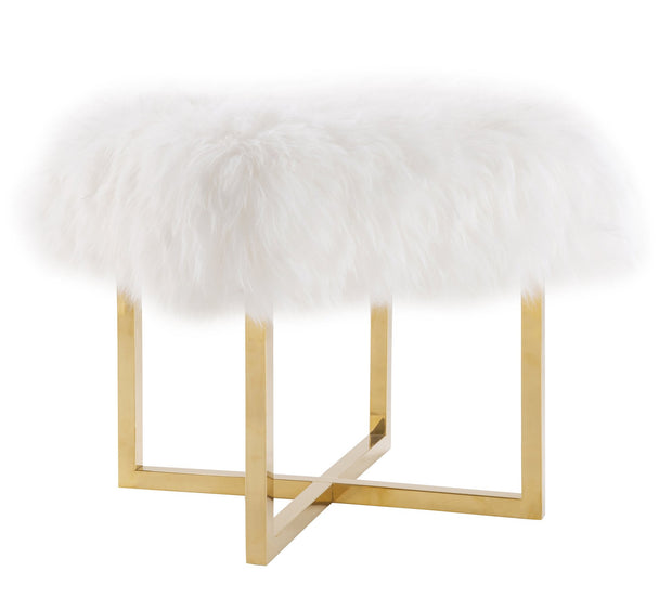 Nomo Sheepskin Bench from the Nomo Collection  made from Sheepskin, Stainless Steel in White, Gold featuring Real sheepskin and Shapely gold stainless steel base