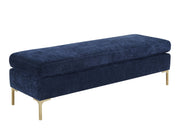 Delilah Navy Textured Velvet Bench from the Delilah Collection  made from Velvet, Wood in Navy featuring Beautiful textured navy velvet fabric and Handmade by skilled furniture craftsmen