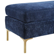 Delilah Navy Textured Velvet Bench