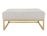 Nova Metallic Beige Linen Ottoman from the Nova Collection  made from Linen, Stainless Steel in Beige, Gold featuring Handmade by skilled furniture craftsmen and Gold stainless steel legs