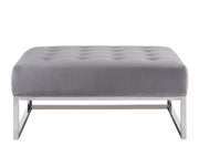 Nova Grey Velvet Ottoman from the Nova Collection  made from Velvet, Stainless Steel in Grey, Silver featuring Handmade by skilled furniture craftsmen and Silver stainless steel legs