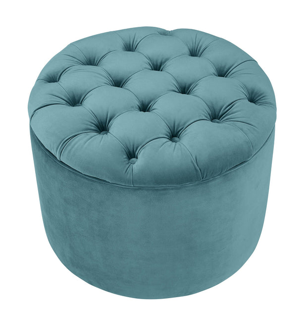 Queen Sea Blue Velvet Storage Ottoman from the Queen Collection  made from Velvet, Wood in Sea Blue featuring Removable top storage ottoman and Solid wood frame provides strong support