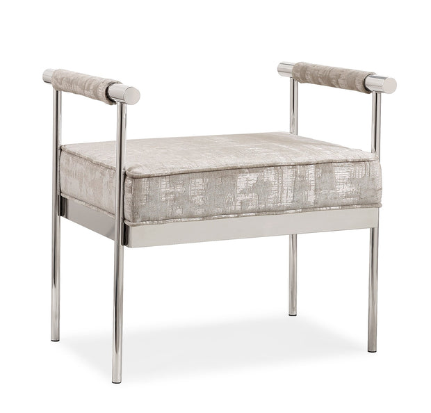 Diva Silver Textured Bench from the Diva Collection  made from Velvet, Stainless Steel in Silver featuring Silver stainless steel frame and Luxurious silver textured velvet