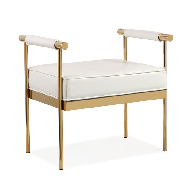 Diva White Vegan Leather Bench from the Diva Collection  made from Vegan Leather, Stainless Steel in White featuring Polished gold stainless steel frame and White Vegan Leather upholstery