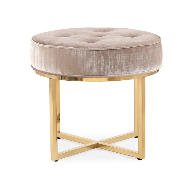 Layla Grey Velvet Ottoman from the Layla Collection  made from Velvet, Stainless Steel in Grey featuring Polished gold stainless steel frame and Luxurious grey velvet