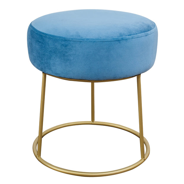Nina Blue Velvet Stool from the TOV Slashed Collection  made from  in Blue featuring Part of the TOV Slashed collection and Sumptuous velvet upholstery