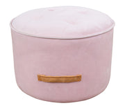 Luna Blush Velvet Ottoman from the TOV Slashed Collection  made from  in Blush featuring Part of the TOV Slashed collection and Sumptuous velvet upholstery