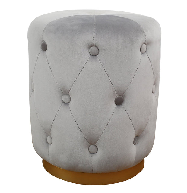 Skylar Grey Velvet Ottoman from the TOV Slashed Collection  made from  in Grey featuring Part of the TOV Slashed collection and Sumptuous velvet upholstery is available in multiple colors