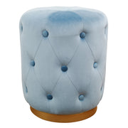 Skylar Blue Velvet Ottoman from the TOV Slashed Collection  made from  in Blue featuring Part of the TOV Slashed collection and Sumptuous velvet upholstery is available in multiple colors