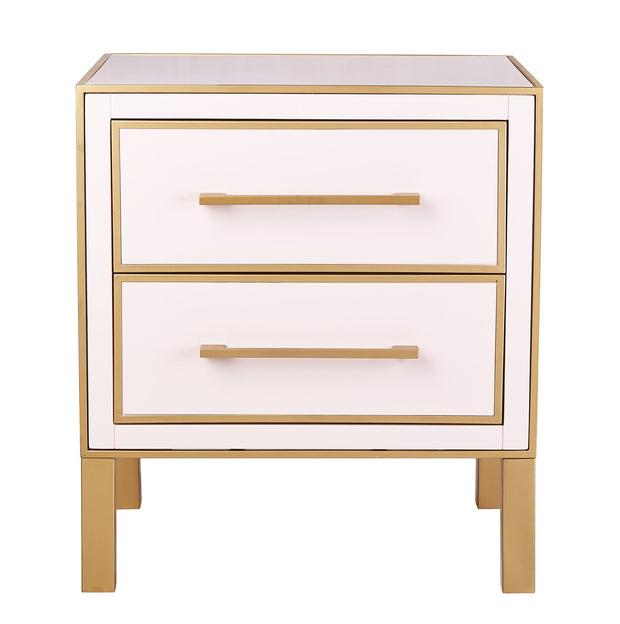 Emily Pink Lacquer Side Table from the TOV Luxe Collection  made from MDF, Iron in Pink featuring Pink lacquer finish with gold iron trim and Two sliding drawers