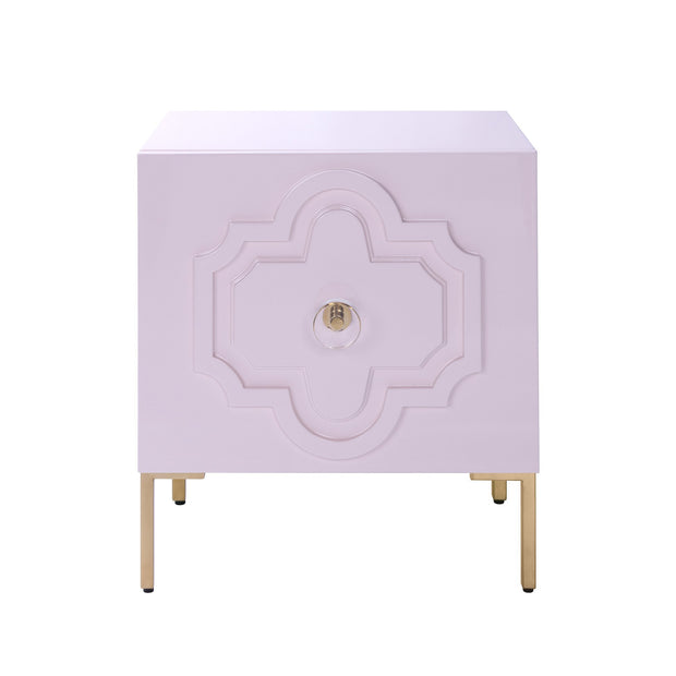 Anna Pink Lacquer Side Table from the Anna Collection  made from MDF in Pink featuring Handmade by skilled furniture craftsmen and Self closing drawers